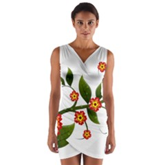 Flower Branch Nature Leaves Plant Wrap Front Bodycon Dress