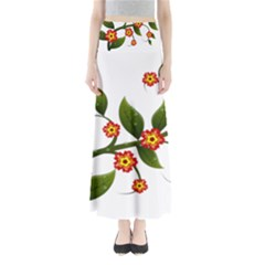 Flower Branch Nature Leaves Plant Full Length Maxi Skirt by Nexatart