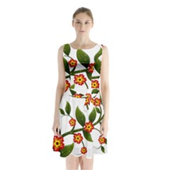 Flower Branch Nature Leaves Plant Sleeveless Waist Tie Chiffon Dress