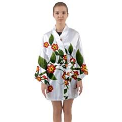 Flower Branch Nature Leaves Plant Long Sleeve Kimono Robe by Nexatart