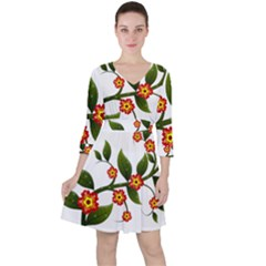 Flower Branch Nature Leaves Plant Ruffle Dress