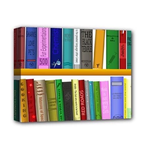 Shelf Books Library Reading Deluxe Canvas 14  X 11