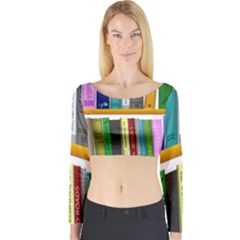 Shelf Books Library Reading Long Sleeve Crop Top