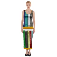 Shelf Books Library Reading Fitted Maxi Dress