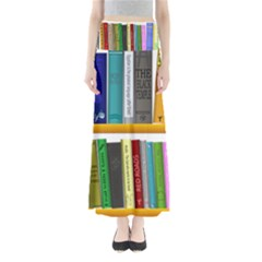 Shelf Books Library Reading Full Length Maxi Skirt