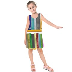 Shelf Books Library Reading Kids  Sleeveless Dress