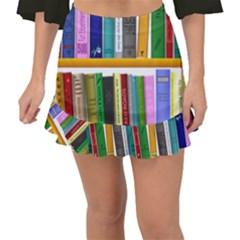 Shelf Books Library Reading Fishtail Mini Chiffon Skirt