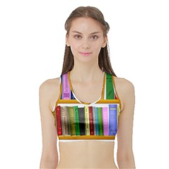 Shelf Books Library Reading Sports Bra With Border