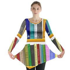 Shelf Books Library Reading Long Sleeve Tunic