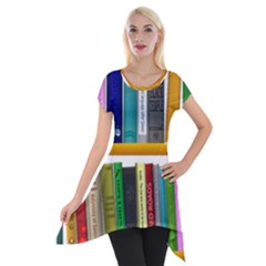 Shelf Books Library Reading Short Sleeve Side Drop Tunic by Nexatart