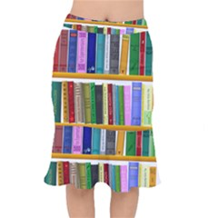 Shelf Books Library Reading Mermaid Skirt
