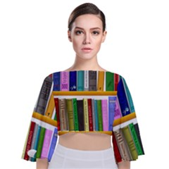 Shelf Books Library Reading Tie Back Butterfly Sleeve Chiffon Top