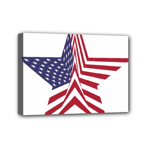 A Star With An American Flag Pattern Mini Canvas 7  X 5