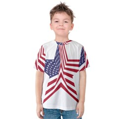 A Star With An American Flag Pattern Kids  Cotton Tee