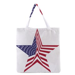 A Star With An American Flag Pattern Grocery Tote Bag