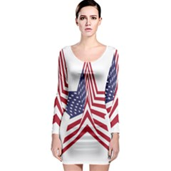 A Star With An American Flag Pattern Long Sleeve Bodycon Dress