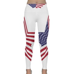 A Star With An American Flag Pattern Classic Yoga Leggings