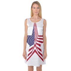 A Star With An American Flag Pattern Sleeveless Satin Nightdress