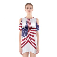 A Star With An American Flag Pattern Shoulder Cutout One Piece