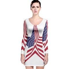 A Star With An American Flag Pattern Long Sleeve Velvet Bodycon Dress