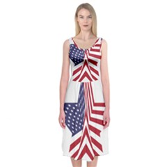 A Star With An American Flag Pattern Midi Sleeveless Dress