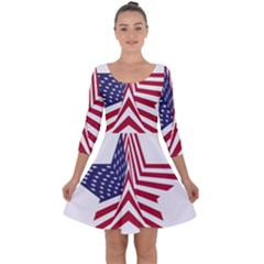 A Star With An American Flag Pattern Quarter Sleeve Skater Dress