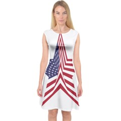 A Star With An American Flag Pattern Capsleeve Midi Dress