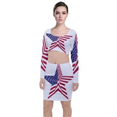 A Star With An American Flag Pattern Long Sleeve Crop Top & Bodycon Skirt Set