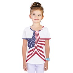 A Star With An American Flag Pattern Kids  One Piece Tee