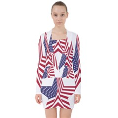 A Star With An American Flag Pattern V Neck Bodycon Long Sleeve Dress