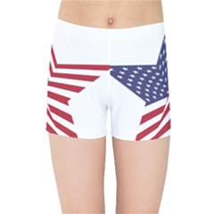 A Star With An American Flag Pattern Kids Sports Shorts