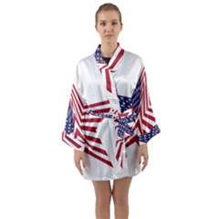 A Star With An American Flag Pattern Long Sleeve Kimono Robe