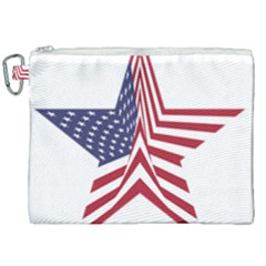 A Star With An American Flag Pattern Canvas Cosmetic Bag (xxl) by Nexatart