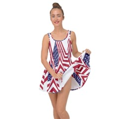 A Star With An American Flag Pattern Inside Out Dress