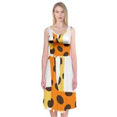 Giraffe Africa Safari Wildlife Midi Sleeveless Dress