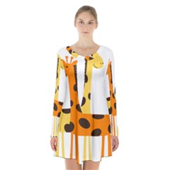 Giraffe Africa Safari Wildlife Long Sleeve Velvet V Neck Dress