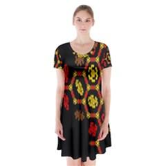 Algorithmic Drawings Short Sleeve V Neck Flare Dress