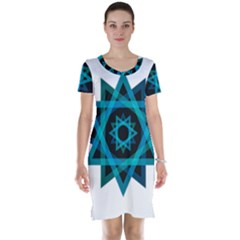Transparent Triangles Short Sleeve Nightdress