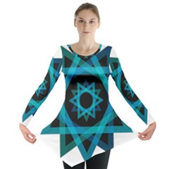 Transparent Triangles Long Sleeve Tunic