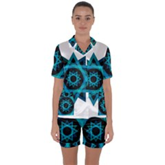Transparent Triangles Satin Short Sleeve Pyjamas Set