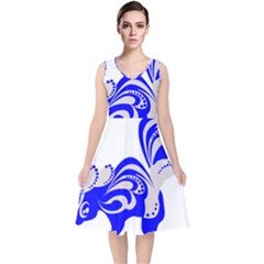 Skunk Animal Still From V Neck Midi Sleeveless Dress