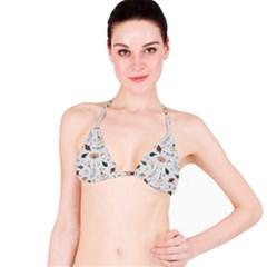 Grey Toned Pattern Bikini Top