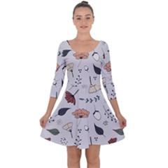 Grey Toned Pattern Quarter Sleeve Skater Dress