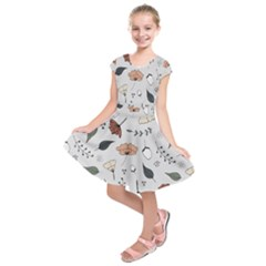 Grey Toned Pattern Kids  Short Sleeve Dress