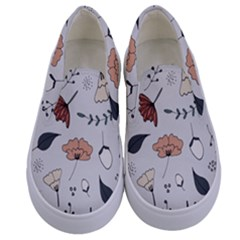 Grey Toned Pattern Kids  Canvas Slip Ons