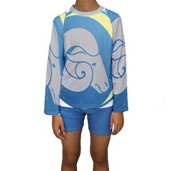 Ram Zodiac Sign Zodiac Moon Star Kids  Long Sleeve Swimwear