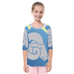 Ram Zodiac Sign Zodiac Moon Star Kids  Quarter Sleeve Raglan Tee