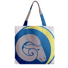 Ram Zodiac Sign Zodiac Moon Star Zipper Grocery Tote Bag
