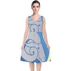 Ram Zodiac Sign Zodiac Moon Star V Neck Midi Sleeveless Dress