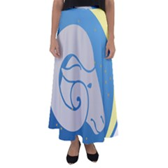 Ram Zodiac Sign Zodiac Moon Star Flared Maxi Skirt